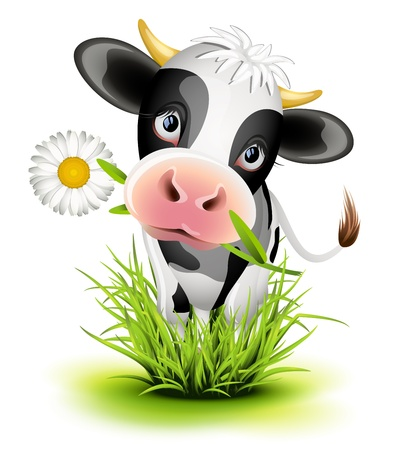 Illustration for Cute Holstein cow in green grass - Royalty Free Image