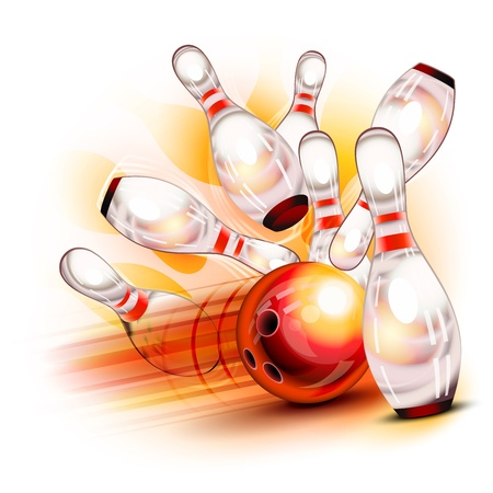 Illustration pour A red bowling ball crashing into the shiny pins - image libre de droit