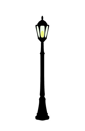 Illustration pour Vector illustration of flat cartoon black streetlight with yellow lamp isolated on white background - image libre de droit
