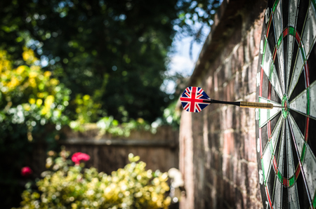 Is Britain standing alone? Brexit? Empire? A single dart on the bullseye to illustrate British themes