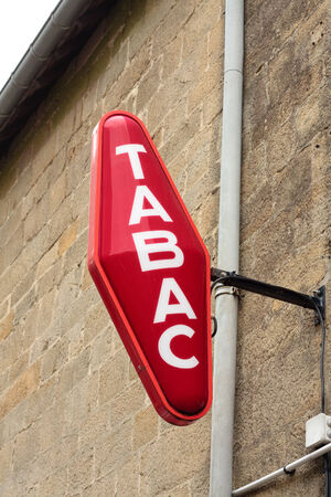 A traditional French red Tabac sign