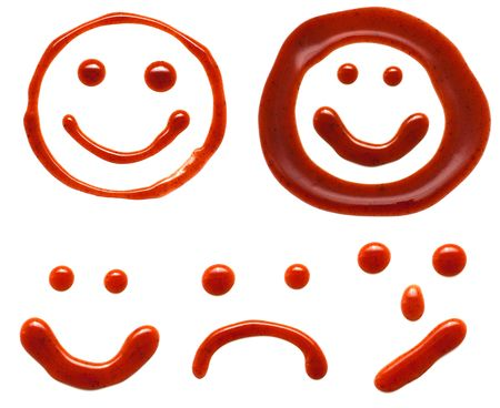 ketchup smiles isolated on a white background