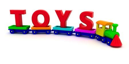 Foto de Red letters Toys on the toy train - Imagen libre de derechos
