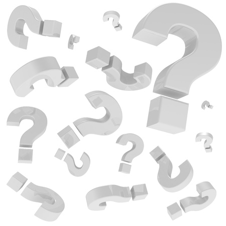 A lot of question marks isolated on the white background