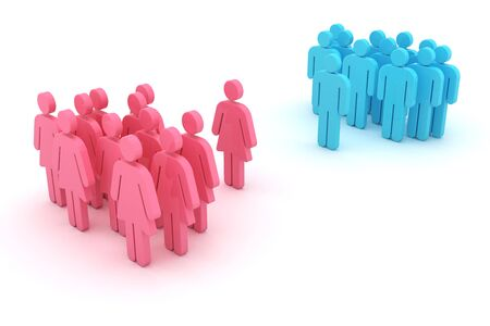 Group of women against group of men isolated on the white background