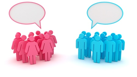 Chatting groups of men and women isolated on the white background