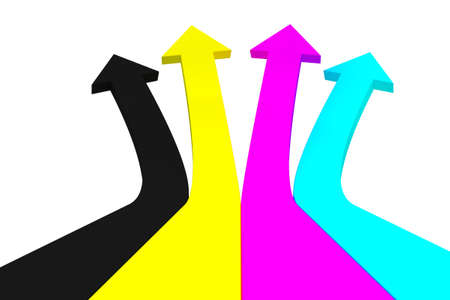 Cyan, magenta, yellow, black arrows on a white background