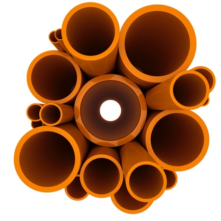 Plastic pipes of different diameters on a white