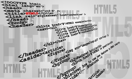 Photo pour Abstract sample of HTML5 code listing - image libre de droit