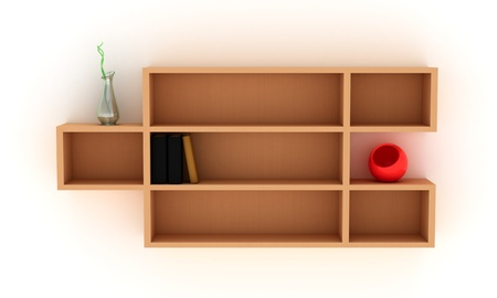 Wooden shelves with books and modern vases