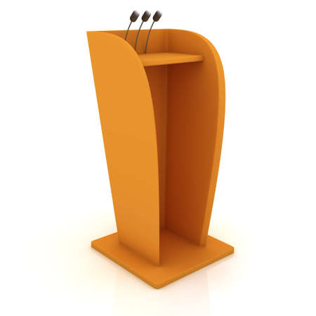 Podium equiped by microphones isolated on the white background