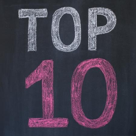 Word Top 10'' written by a chalk on a blackboard