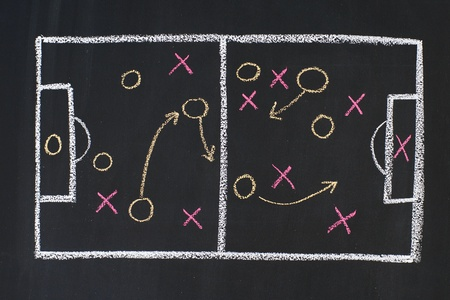 Scheme of sports strategy, drawn on a blackboard