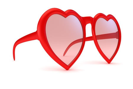 Rose colored glasses - symbol of hope, happiness and love