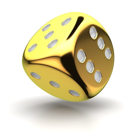 One big golden dice on the white background