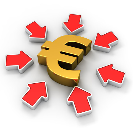 Golden euro symbol surrounded by red arrows