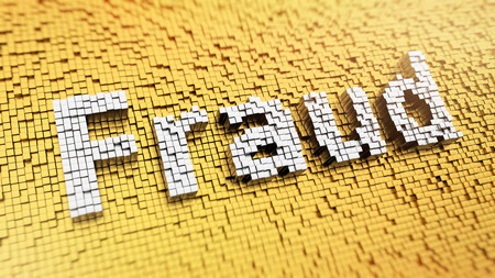 Pixelated word Fraud made from cubes, mosaic pattern