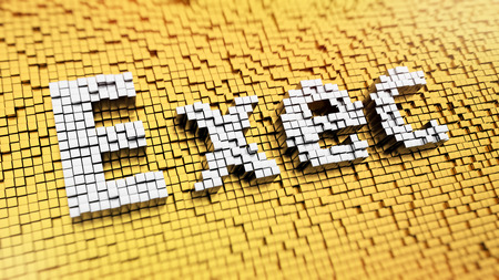 Pixelated word Exec made from cubes, mosaic pattern