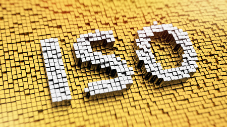 Pixelated acronym ISO made from cubes, mosaic pattern