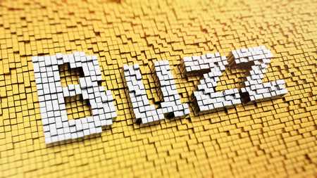 Pixelated word Buzz made from cubes, mosaic pattern