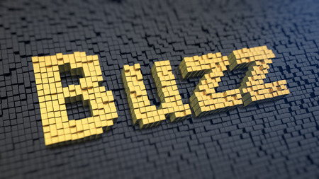 Word 'Buzz' of the yellow square pixels on a black matrix background. Tell me what the happening?