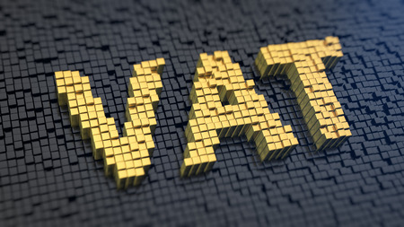 Acronym 'VAT' of the yellow square pixels on a black matrix background. A value-added tax (VAT) is a tax on the purchase price.