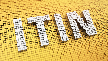 Pixelated acronym 'ITIN' made from cubes, mosaic pattern