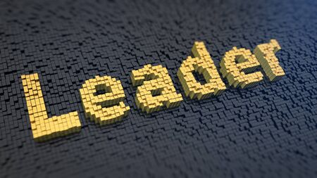 Word 'Leader' of the yellow square pixels on a black matrix background. Professional manager concept.