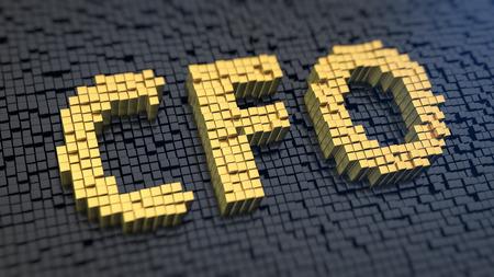 Acronym 'CFO' of the yellow square pixels on a black matrix background. Money boss concept.