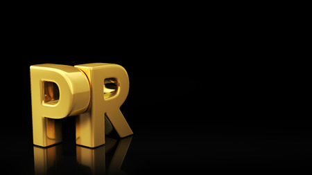 Gold acronym PR on black background with reflection and copyspace. Good for slide with text