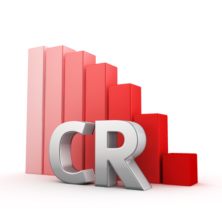 Moving down red bar graph of CR on white. Conversion rate decrease concept.