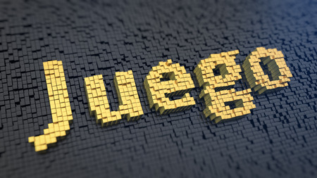 Spanish word Juego (which means 'Game') of the yellow square pixels on a black matrix background. 3D illustration pic