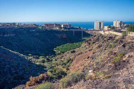 View to Playa Paraiso via Barranco del Pinque ravine, Tenerife, Canary Islands