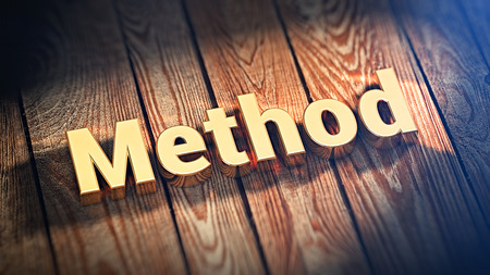 The word Method is lined with gold letters on wooden planks. 3D illustration image