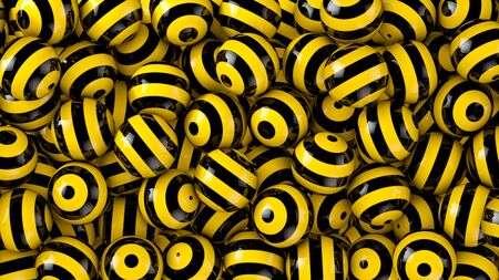 Photo pour Strong contrast black-yellow striped spheres abstract background - image libre de droit