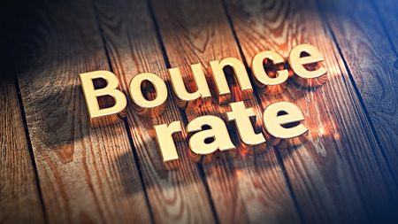Words Bounce rate is lined with gold letters on wooden planks. 3D illustration image