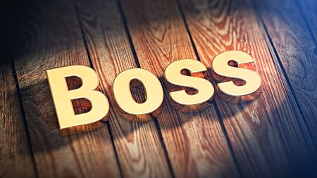 The word Boss is lined with gold letters on wooden planks. 3D illustration image