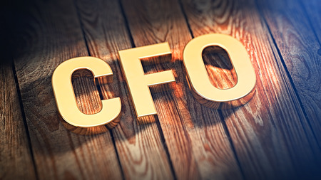 The acronym CFO is lined with gold letters on wooden planks. 3D illustration image