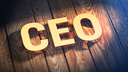 The acronym CEO is lined with gold letters on wooden planks. 3D illustration image