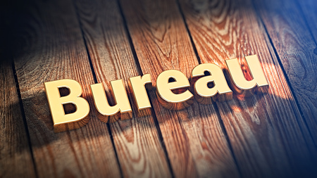 The word Bureau is lined with gold letters on wooden planks. 3D illustration image