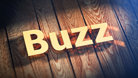 The word Buzz is lined with gold letters on wooden planks. 3D illustration image
