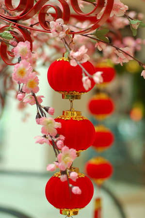 chinese red lantern with colourful decoration