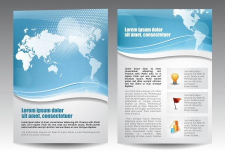 Blue template for advertising brochure