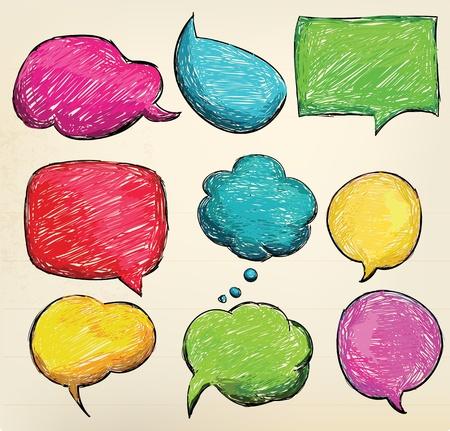 Illustration pour Hand-drawn, colorful speech bubbles - image libre de droit