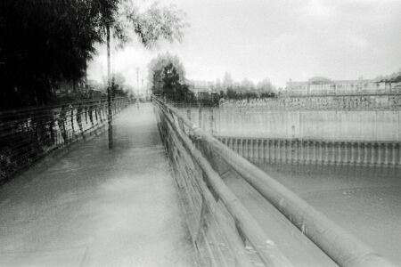 Multiexposure blurred black and white photography of an urban landscape