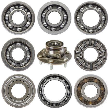 Photo pour Industrial ball bearings set, white background - image libre de droit