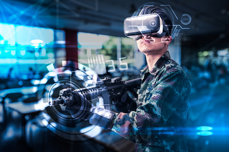 Photo pour The abstract image of the soldier use a VR glasses for combat simulation training overlay with the hologram. the concept of virtual hologram, simulation, gaming, internet of things and future life. - image libre de droit