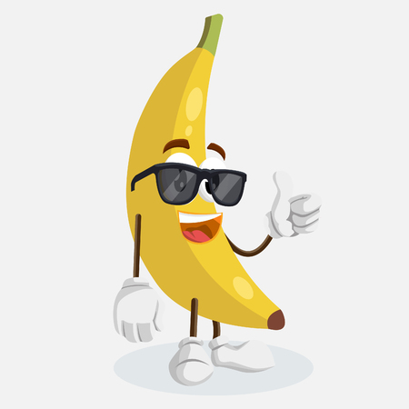 Illustration pour Banana Logo mascot and background thumb pose with flat design style for your logo or mascot branding. - image libre de droit