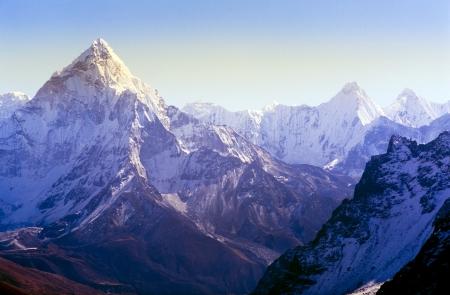 Spectacular mountain scenery on the Mount Everest Base Camp trek through the Himalaya, Nepal