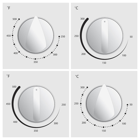 Oven dial vector in 4 different styles with celcius and fahrenheit temperature measurements